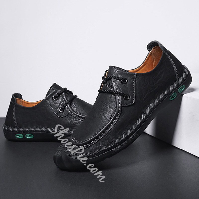 Shoespie Stitching Men's Lace-Up Loafers