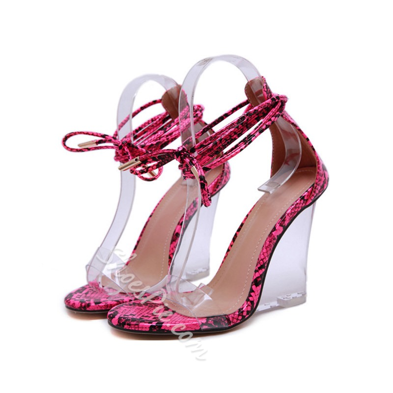 Shoespie Clear Strappy Wedge Heel Lace-Up Sandals
