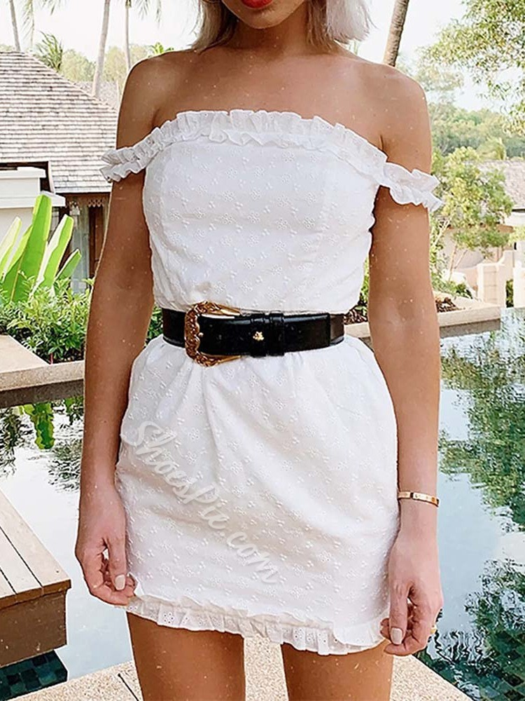Embroidery Above Knee Off Shoulder Women's Dress