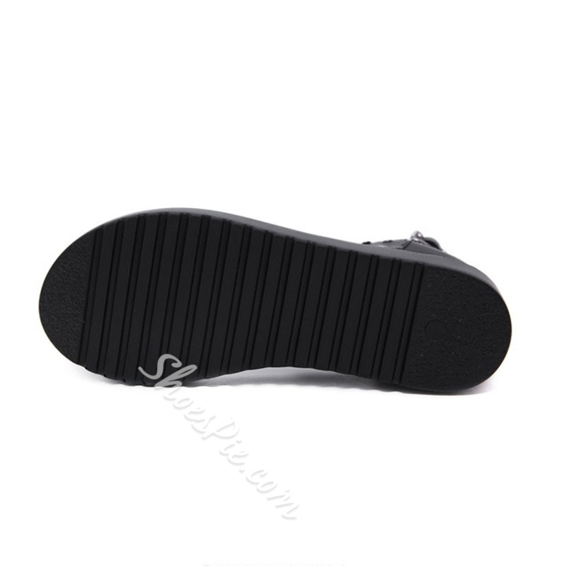 Shoespie Black Zipper Thong Sandals