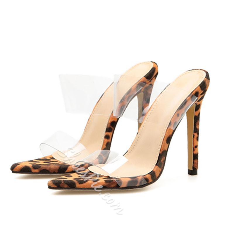 Shoespie Clear Leopard Backless Mules