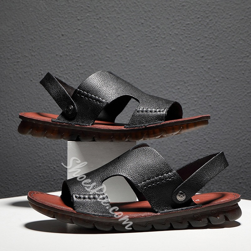 Shoespie Black Men's Hollow Sandals