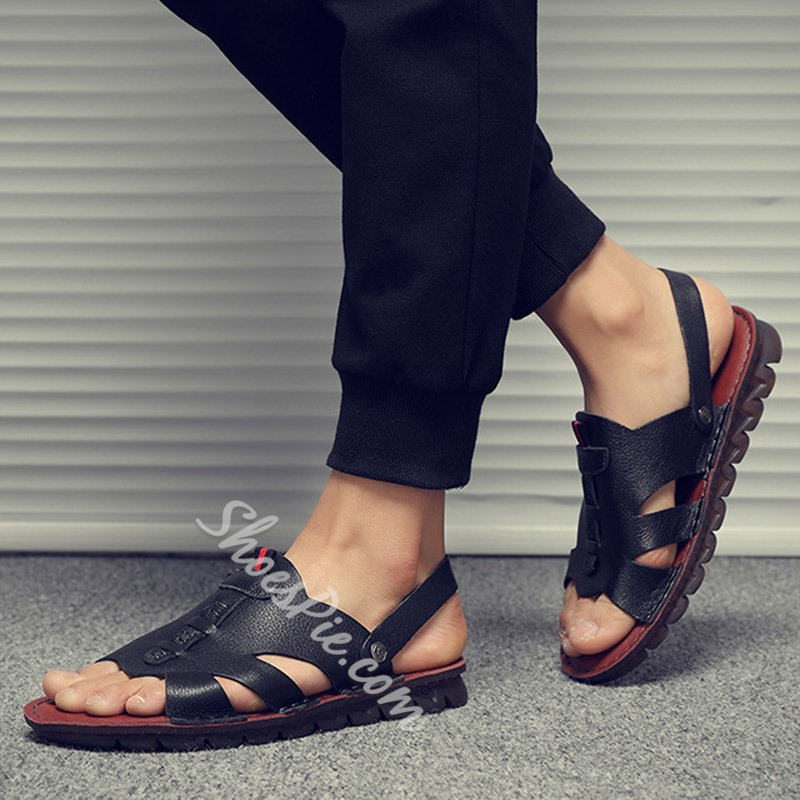 Shoespie Black Men's Open Toe Sandals