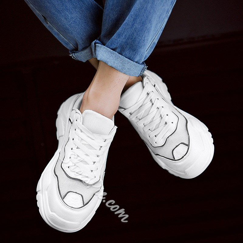 Shoespie Men's White Lace-Up Sneakers