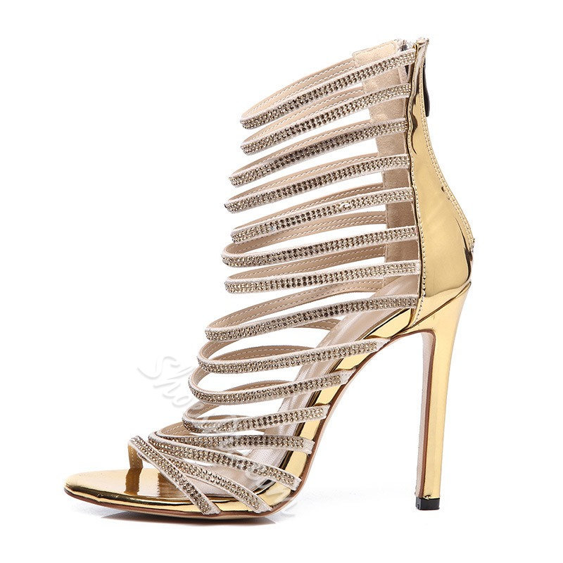 Shoespie Gold Open Toe Zipper Rhinestone Prom Sandals