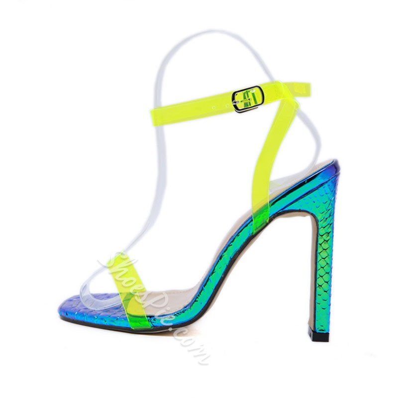 Shoespie Neon Chunky Heel Ankle Strap Sandals