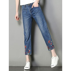 Floral Embroidery Straight Slim Women's Jeans
