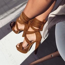 Shoespie Lace-Up Peep Toe Stiletto Heel Cross Strap Sandals