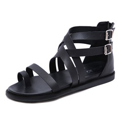 Shoespie Stylish Zipper Toe Ring Flat Sandals