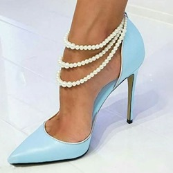 Shoespie Stiletto Heel Beads Blue Pumps