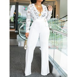 Full Length Lace Plain Lace-Up Straight Women's Jumpsuit