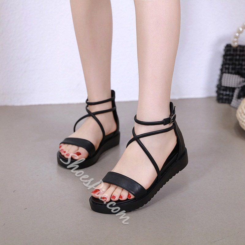 Shoespie Black Open Toe Zipper Sandals