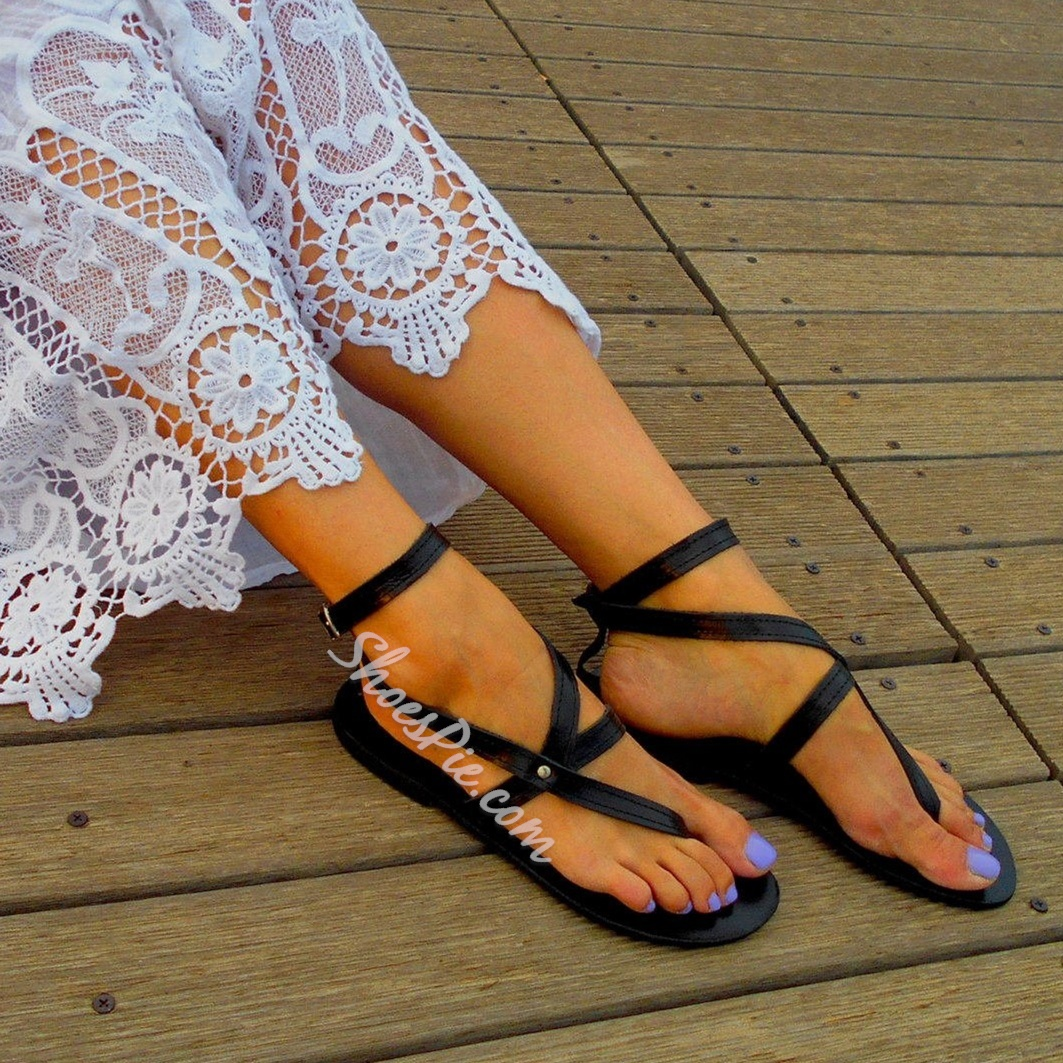 Shoespie Vintage Buckle Thong Flat Western Sandals