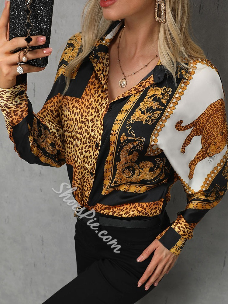 Leopard Print Long Sleeve Women's Blouse