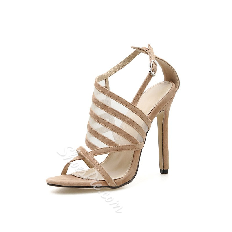 Shoespie Sexy Buckle Stiletto Heel Mesh Sandals