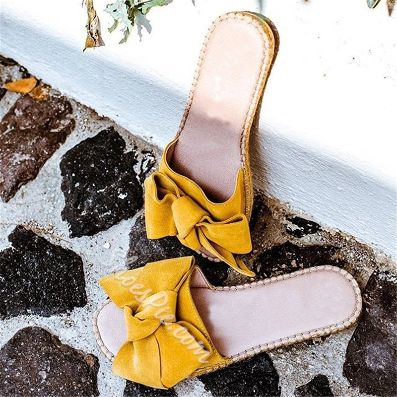 Shoespie Bow Flat Summer Slippers