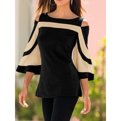 Patchwork Flare Sleeve Off Shoulder Three-Quarter Sleeve Women's Blouse