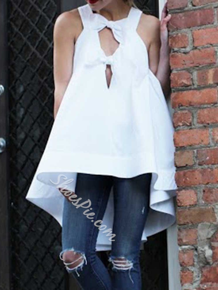 Polyester Bowknot Mid-Length Women's Tank Top