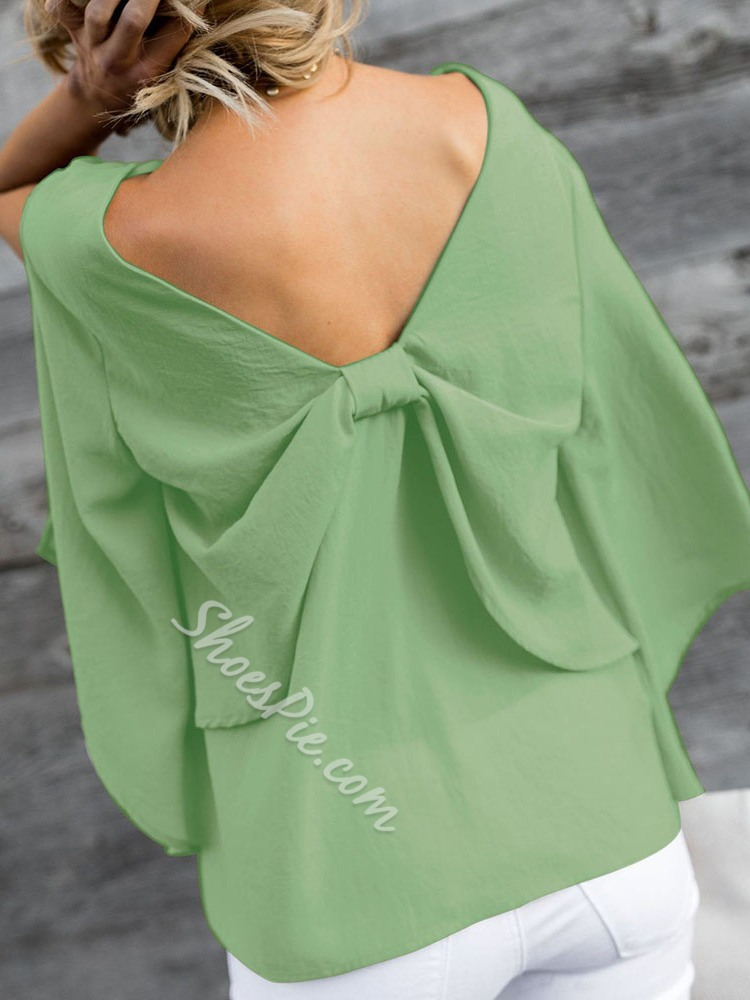 V-Neck Bowknot Plain Standard Women's Blouse