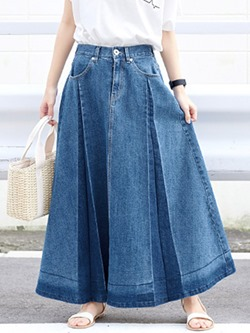 A-Line Ankle-Length Pleated Casual Women's Skirt