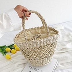 Shoespie Hollow Out Knitted Grass Tote Bags