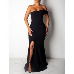Short Sleeve Floor-Length Backless Strapless Women's Dress