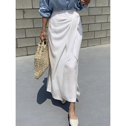 Pleated Straight Ankle-Length Sweet Women's Skirt