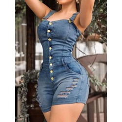Western Shorts Button Skinny Women's Jumpsuit