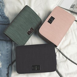 Shoespie PU Lock Plain Crossbody Bags