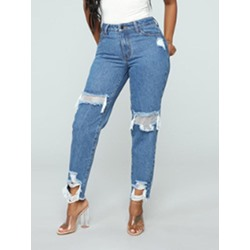 Plain Hole Zipper Women's Jeans
