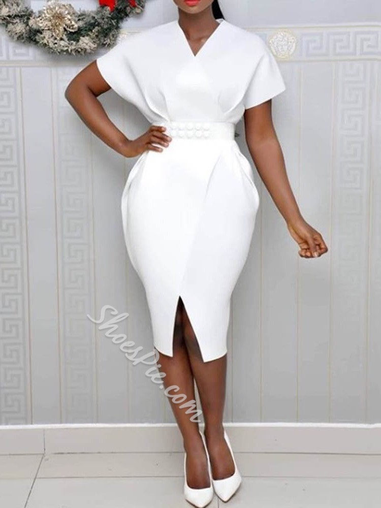 Short Sleeve V-Neck Split Plain Women's Bodycon Dress