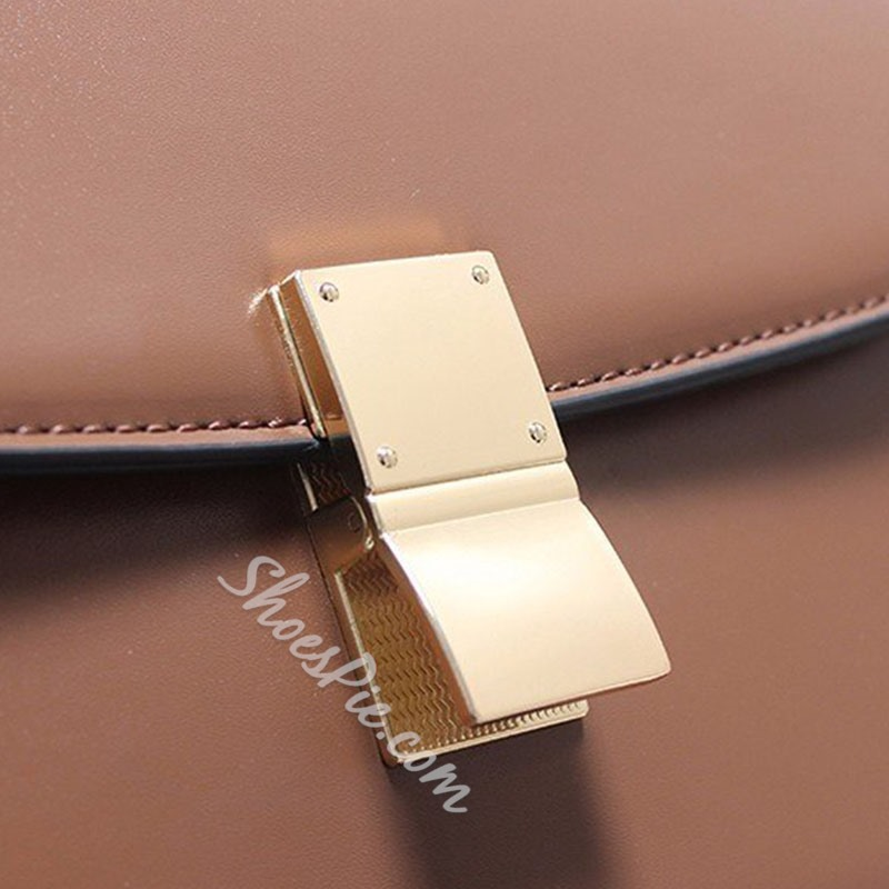 Shoespie PU Lock Plain Brown Crossbody Bags