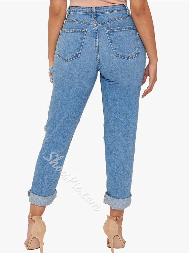 Button Plain Zipper Women's Jeans