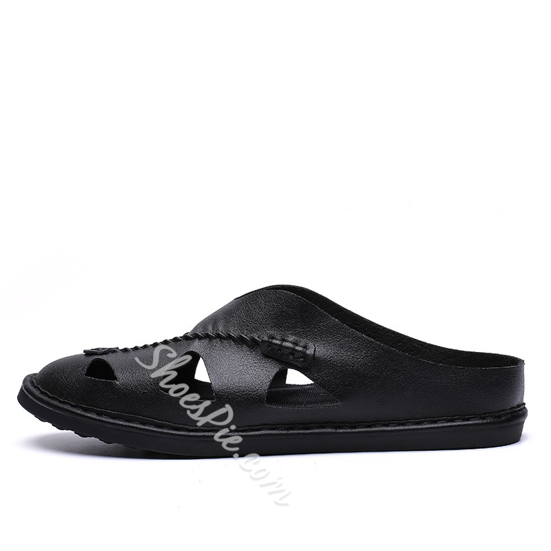Shoespie Men's Summer Hollow Backless Slippers