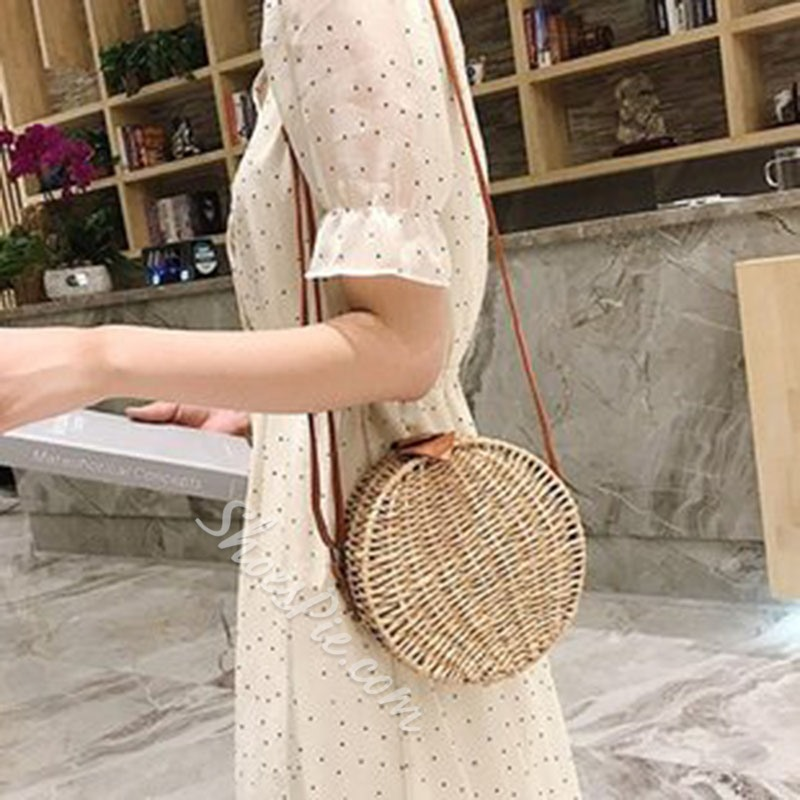 Shoespie Round Grass Knitted Crossbody Bags