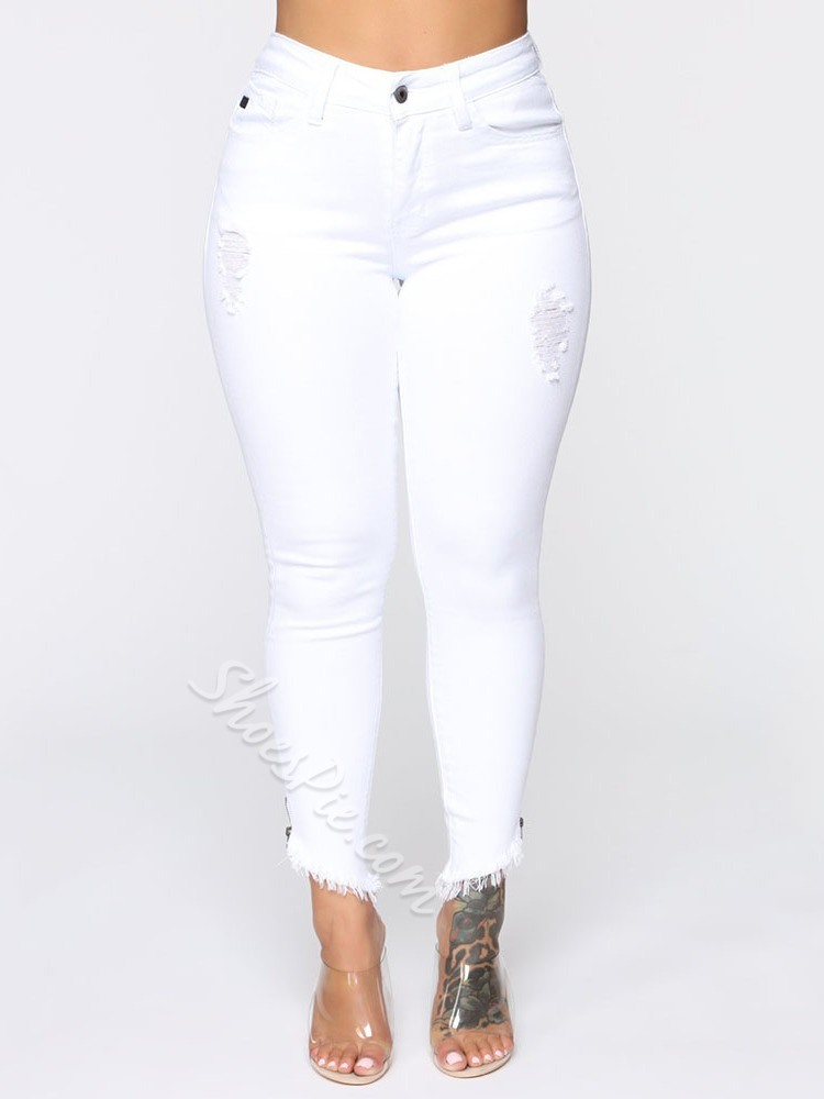Plain Pencil Pants Button Skinny Women's Jeans