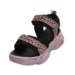 Shoespie Leopard Velcro Ankle Strap Sandals