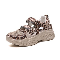 Shoespie Leopard Mesh Wedge Heel Velcro Sneakers