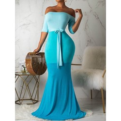 Half Sleeve Floor-Length Off Shoulder Mid Waist Women's Dress
