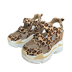 Shoespie Leopard Chunky Velcro Mesh Sandals