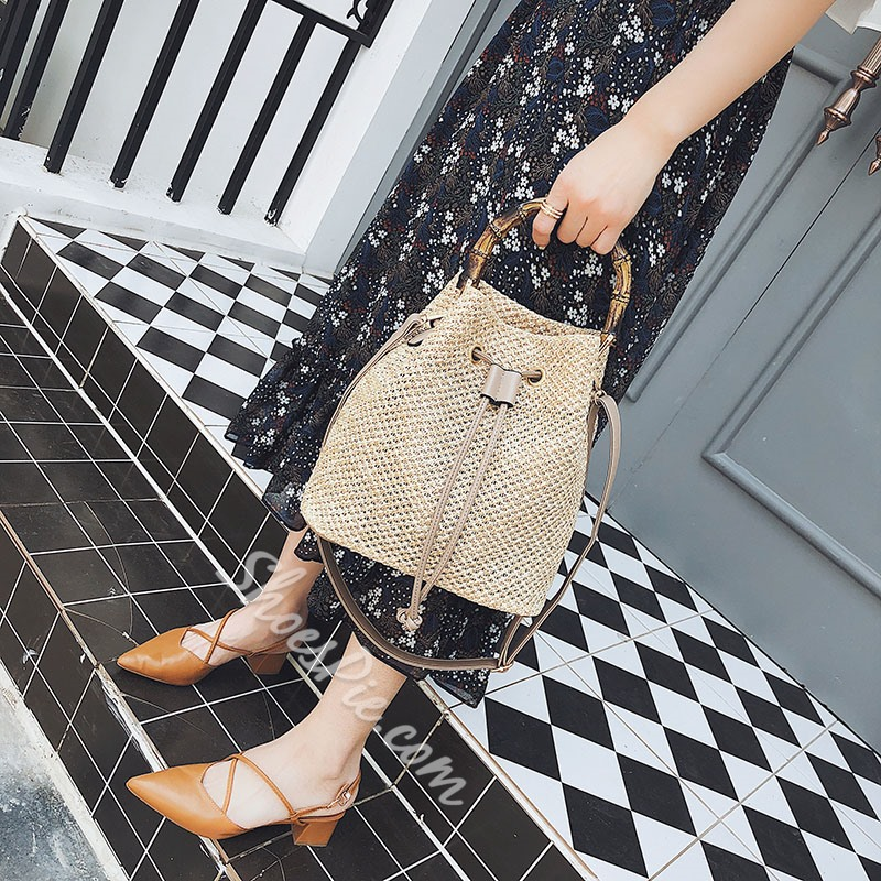 Shoespie Grass Knitted Shoulder Bags