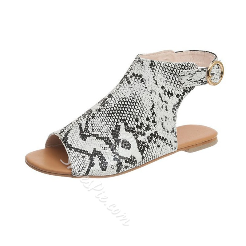 Shoespie Flat Slingback Buckle Open Toe Sandals