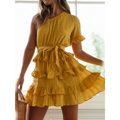 Pleated Oblique Collar Above Knee Flare Sleeve Women's Dress