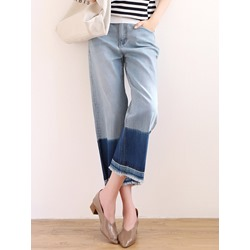 Straight Color Block Loose Women's Jeans