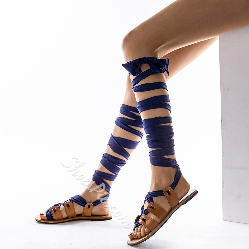 Shoespie Lace-Up Strappy Flat Gladiator Sandals