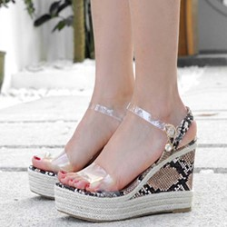 Shoespie Open Toe Clear Wedge Heel Sandals