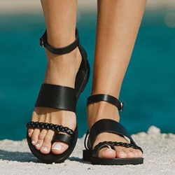 Shoespie Black Toe Ring Buckle Sandals