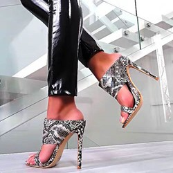 Shoespie Sexy Stiletto Heel Snake Pattern Sandals