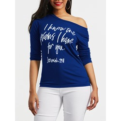 Letter Print Round Neck Women's T-shirt