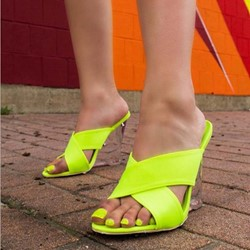 Shoespie Neon Clear Wedge Heel Cross Mules